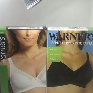 Warner's BNIB 2 Bras (1 white 1 Black) 36 C= 2Bras
